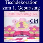 Tischdekoration zum 1. Geburtstag, M�dchen (Tischdeko-1.-Geburtstag-Girl-241012)