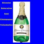 Silvester-Luftballon aus Folie, Happy New Year, Champagner-Flasche, mit Helium gefüllt (FHGE Silvester 03 04949)