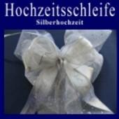 Hochzeitsschleife, Hochzeitsdeko-Zierschleife, Silberhochzeit (Hochzeitsdeko-Schleife D 03)