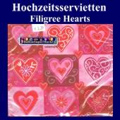 Hochzeitsservietten-Filigree Hearts (Hochzeitsservietten-Filigree-Hearts-20977)