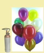 Maxi-Set MA, 100 Luftballons Metallic mit Helium (Farbauswahl) (BGS1MX 100Met30A)