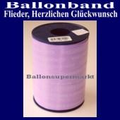 Ballonband, Luftballonbänder 1 Rolle 250 m, Flieder, Herzlichen Glückwunsch (Ballonband-Flieder-Herzlichen-Glueckwunsch-Rolle-Fl-HrzlG-01)