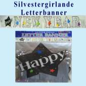 Silvestergirlande, Letterbanner, Happy New Year (Silvester Deko-Girlande 03 120024)