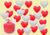 Herzluftballons  schweben für die Liebe