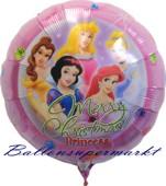 Princess Weihnachtsballon, Luftballon zu Weihnachten mit den Prinzessinen, Helium inklusive (FHGE Princess Christmas-10235)